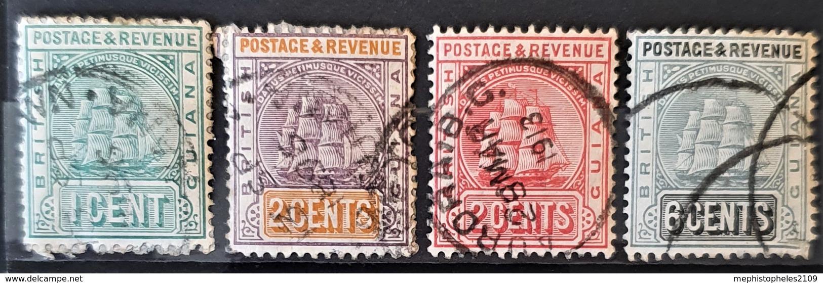 BRITISH GUIANA 1889-1903 - Canceled - Sc# 131, 132, 133, 138 - British Guiana (...-1966)