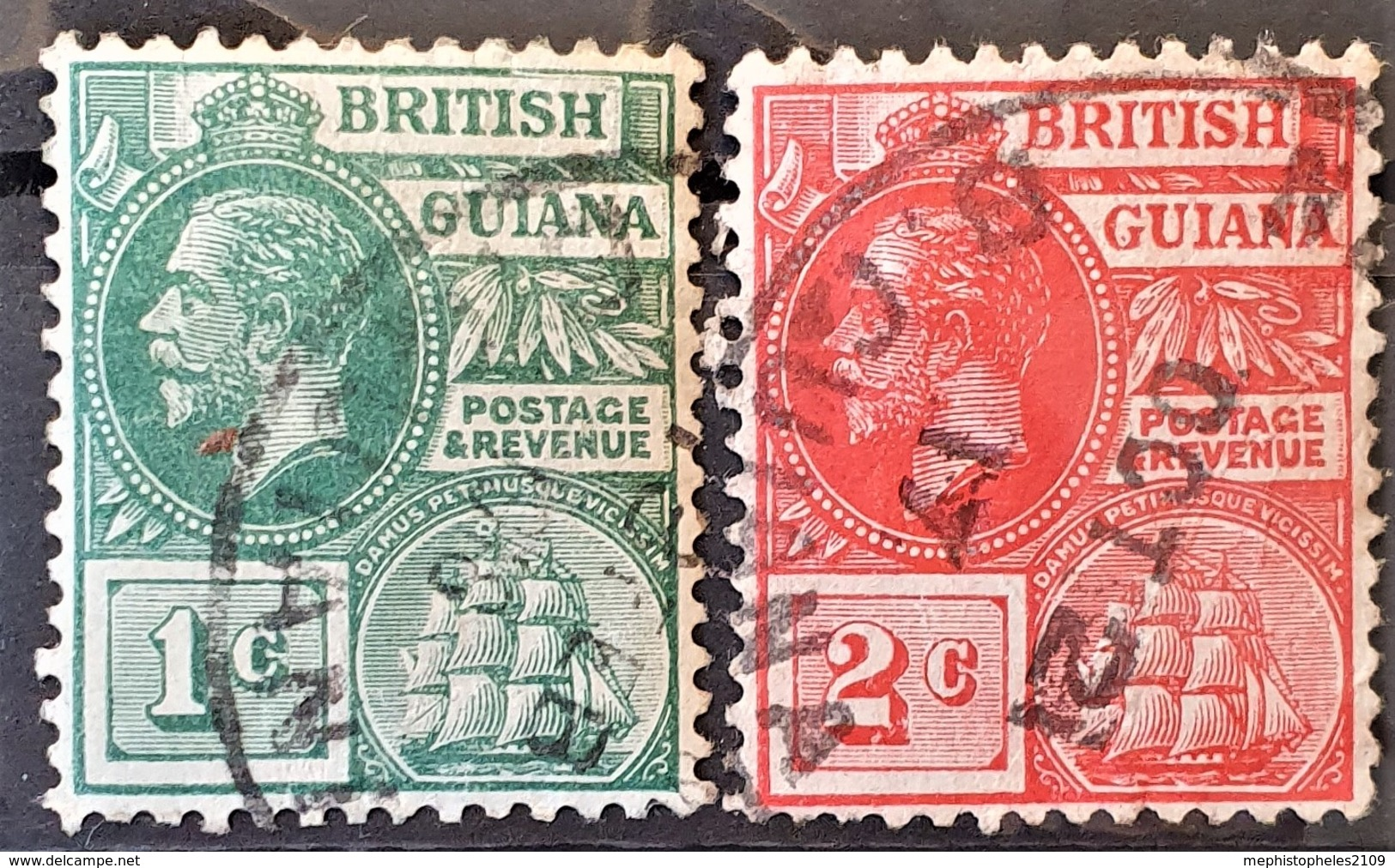 BRITISH GUIANA 1913-1917 - Canceled - Sc# 178, 179 - British Guiana (...-1966)