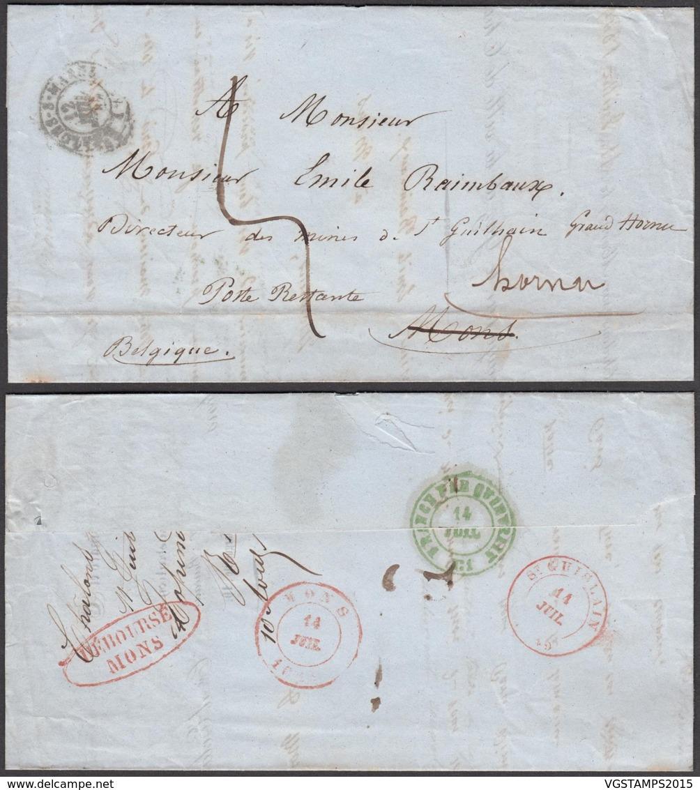 France - Précurseur De Chalons Sur Marne 12/07/1849 Vers Mons Redirigé Vers Hornu  (RD173)DC5686 - Marcophilie (Lettres)