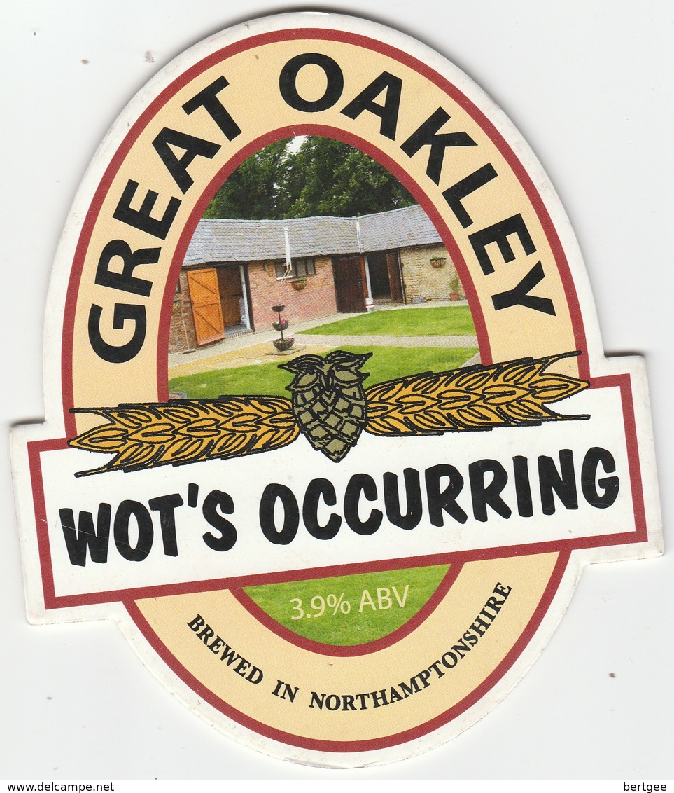 GREAT OAKLEY BREWERY (TIFFILED, ENGLAND) - WOT'S OCCURING - PUMP CLIP FRONT - Schilder