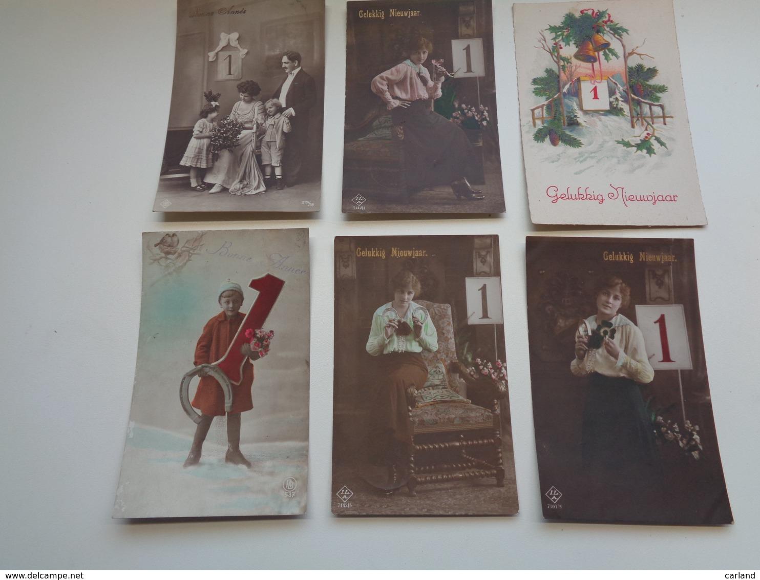 Beau Lot  60 Cartes Postales De Fantaisie Chiffre 1 Janvier Bonne Année     Mooi Lot 60 Postk. Fantasie Cijfer Nieuwjaar - Postkaarten