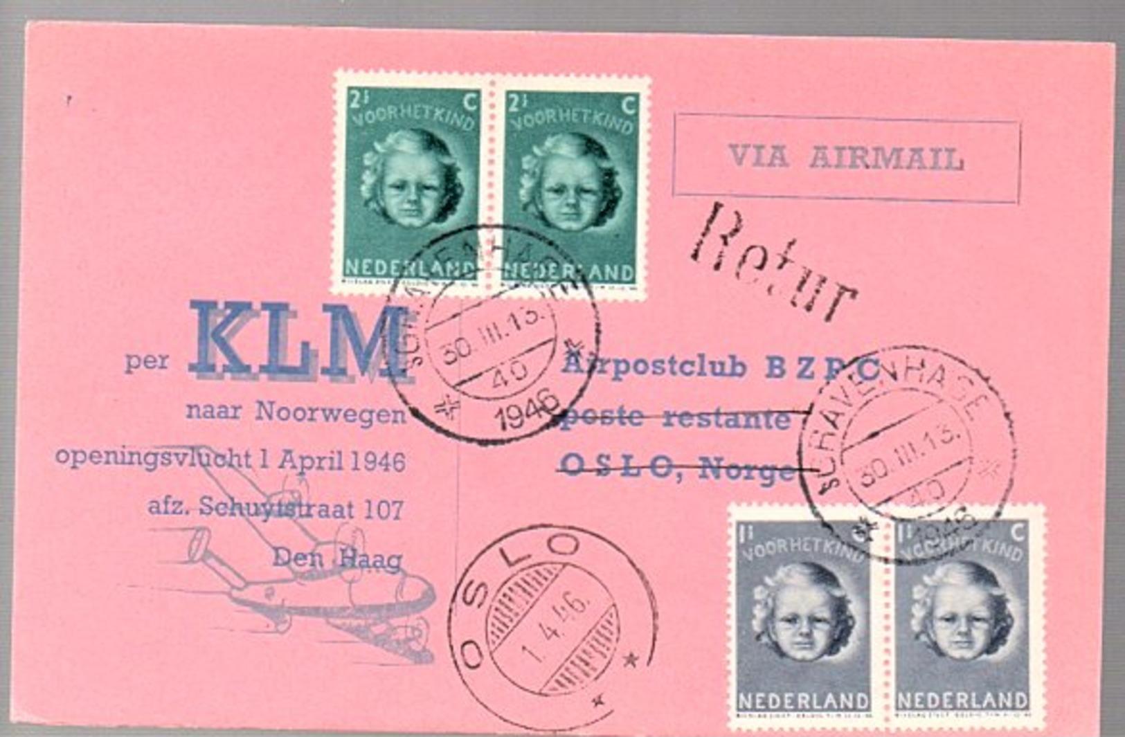 1st Post-war Flight 1946 > Norway Oslo (FU-3) - Lettres & Documents