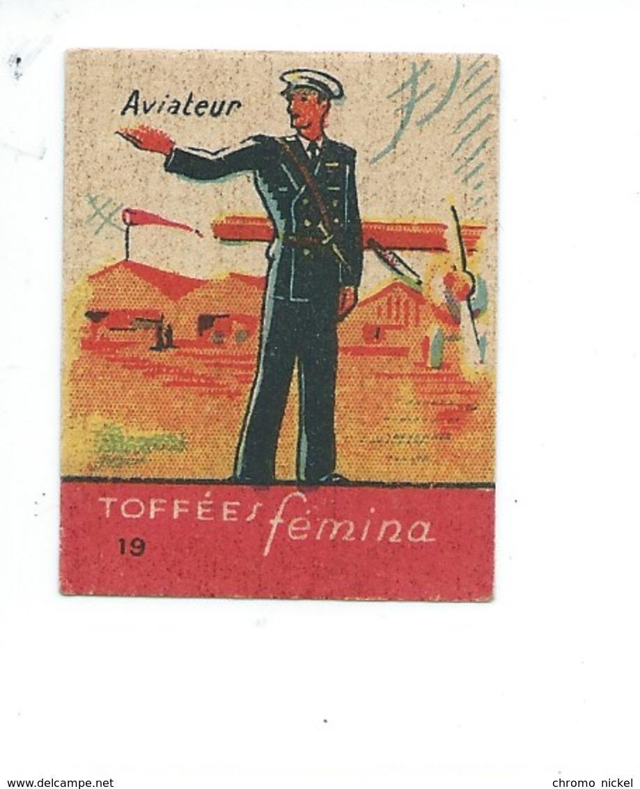 Chromo Aviateur Armée Française Rare Pub: Femina TB 47 X 37 Mm 2 Scans - Andere