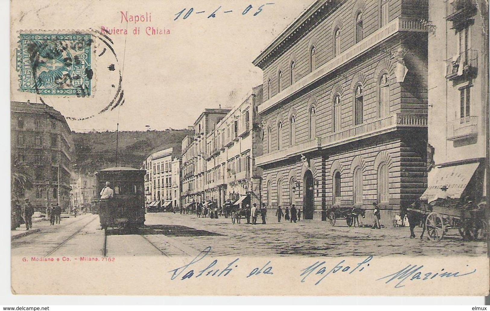 ITALIE - NAPLES - NAPOLI. CPA Voyagée En 1905 Riviera Di Chiaia - Napoli