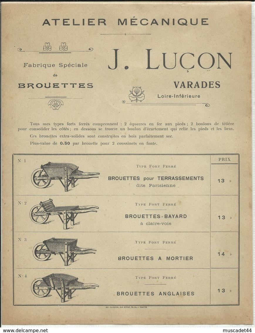 FEUILLET PUBLICITAIRE FABRIQUE DE BROUETTES VARADES 44 J.LUCON - Publicités