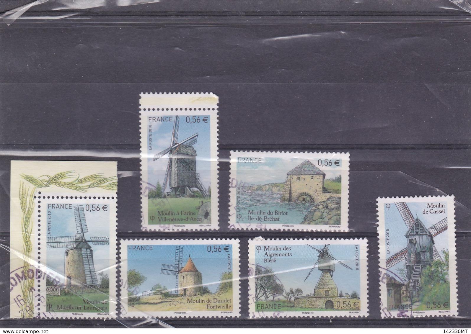 4485 à 4490 Oblitérés Ronds(2010) Les Moulins - Francia
