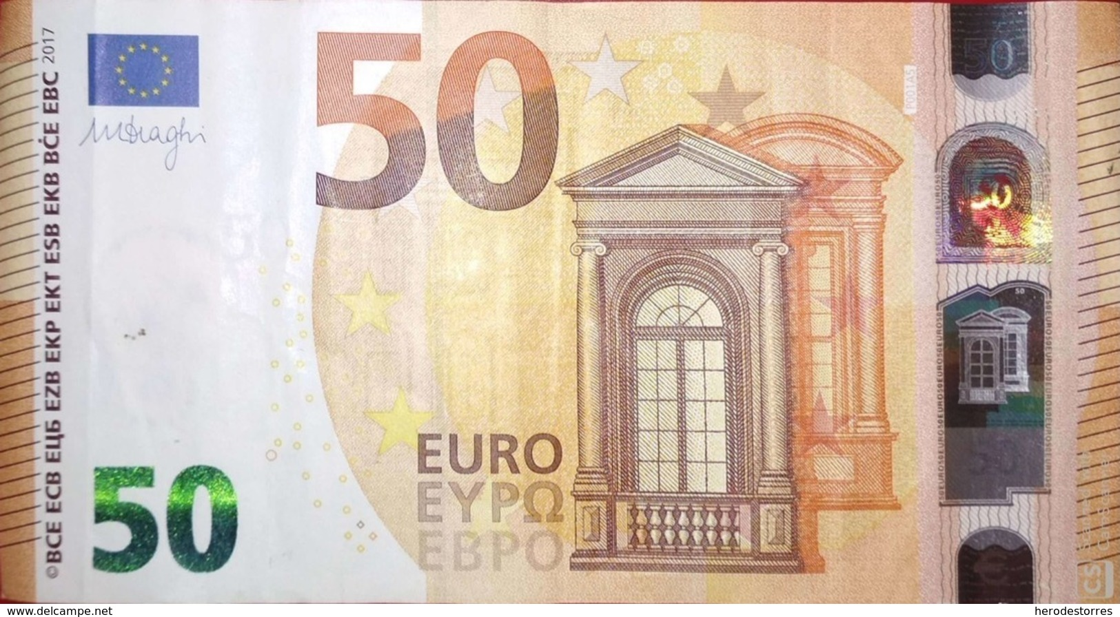 50 EURO Alemania(PB) P001A, DRAGHI, With Error Numbering Displaced From P On The Reverse Side - EURO