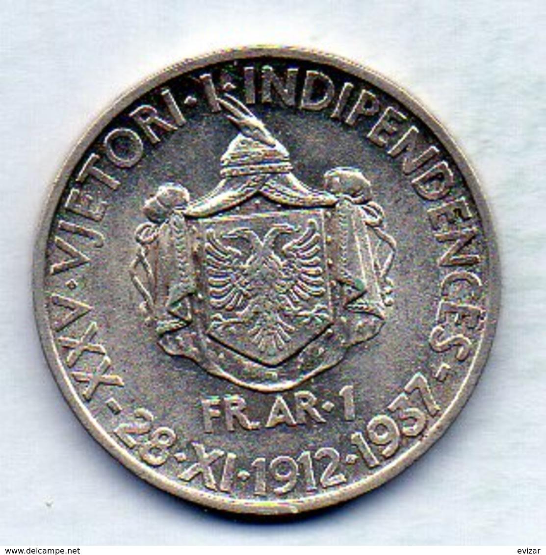 Coin ALBANIA, 1 Frang-Ar, Silver, Year 1937, KM #18 - Albania