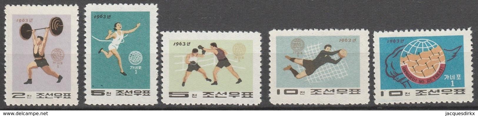 Nord Korea       .     Yvert    .    534/538       .      (*)       .    Kein Gummi   .   /   .   No Gum - Korea (Nord-)