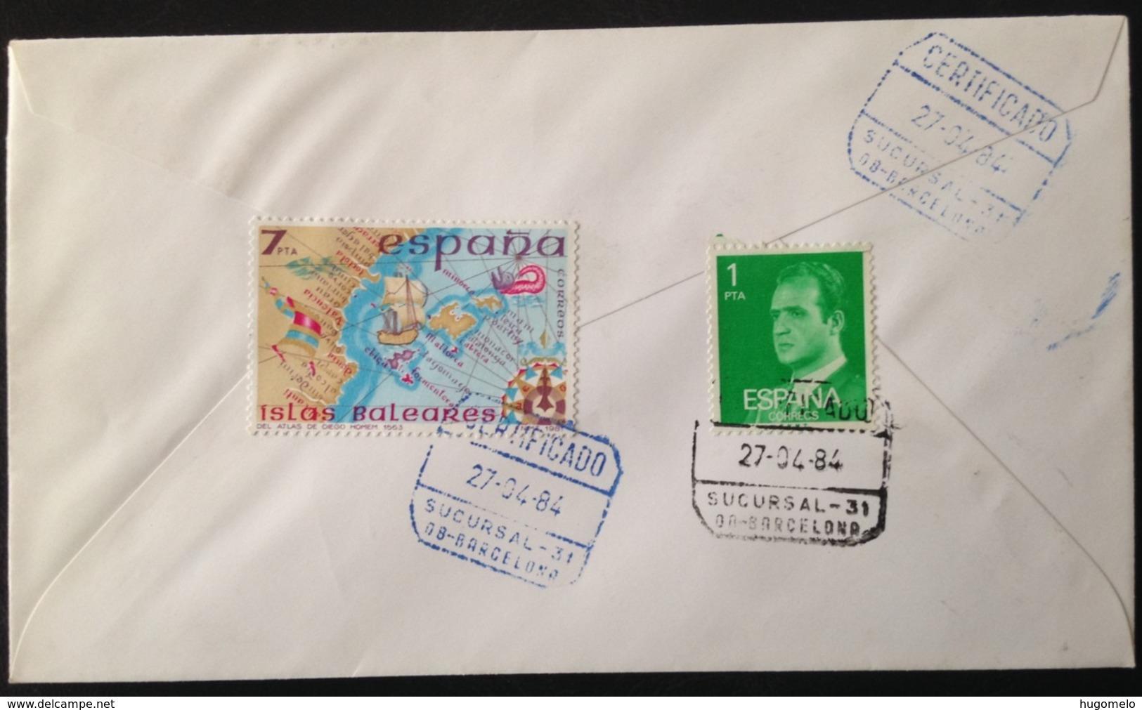 "Spain, Registered And Circulated Cover, ""World Philatelic Exhibition"", ""España84"", ""Spanish Royal Family"", 1984 - Verzamelingen"