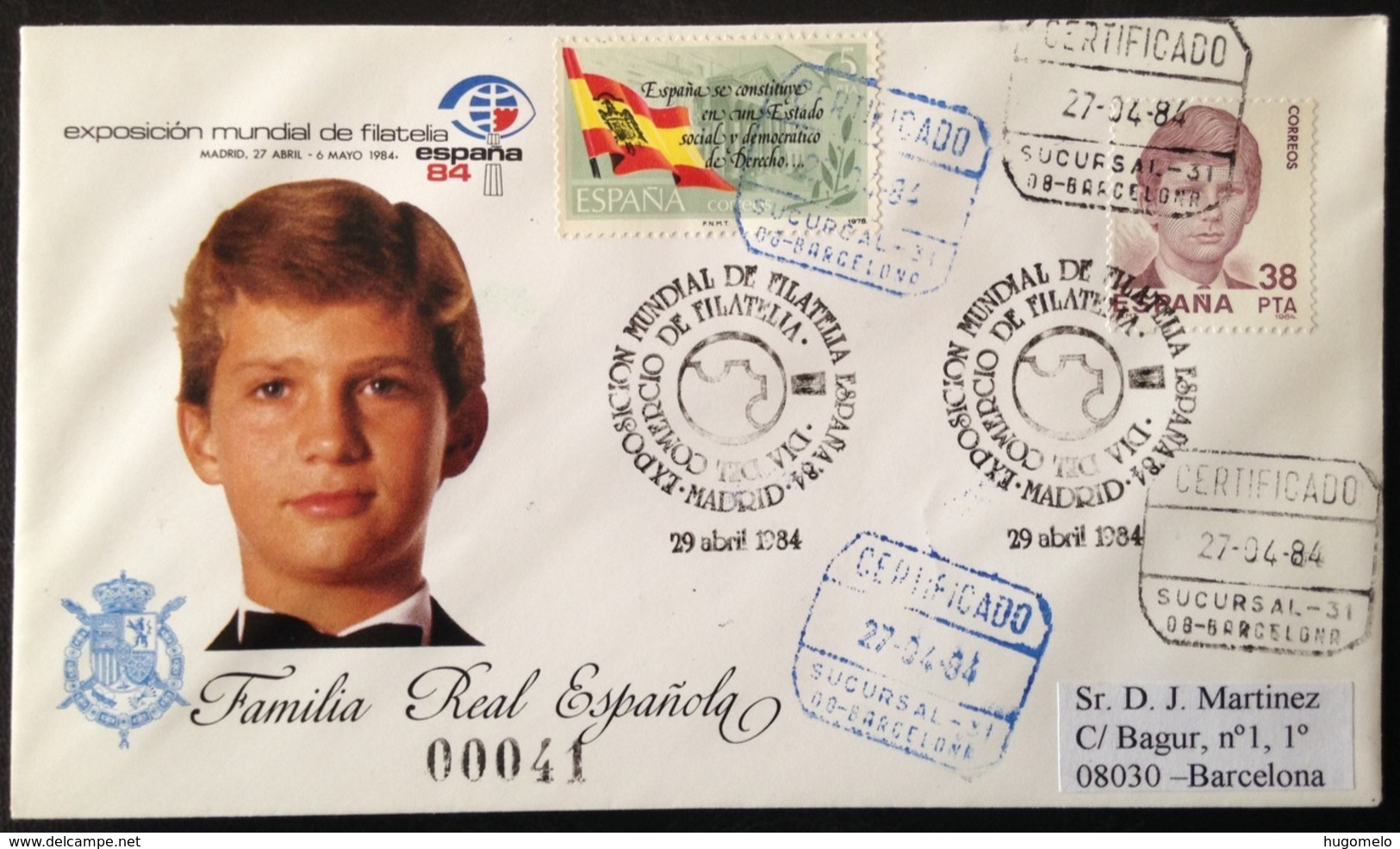 """Spain, Registered And Circulated Cover, """"World Philatelic Exhibition"""", """"España84"""", """"Spanish Royal Family"""", 1984 - Colecciones"""