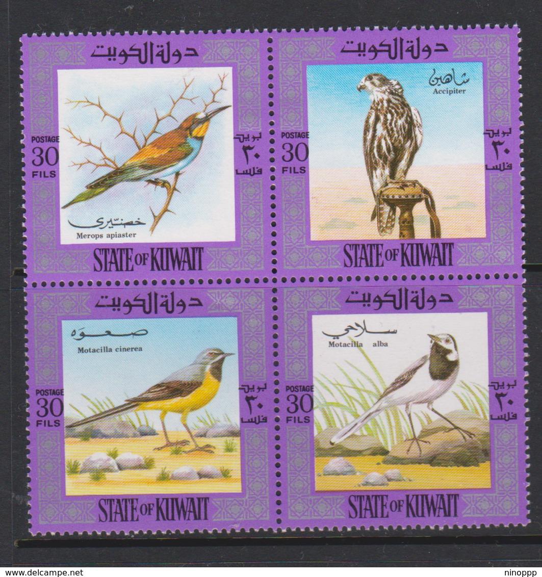 Kuwait Scott 589 1973 Birds,mint Hinged Block 4, - Sparrows