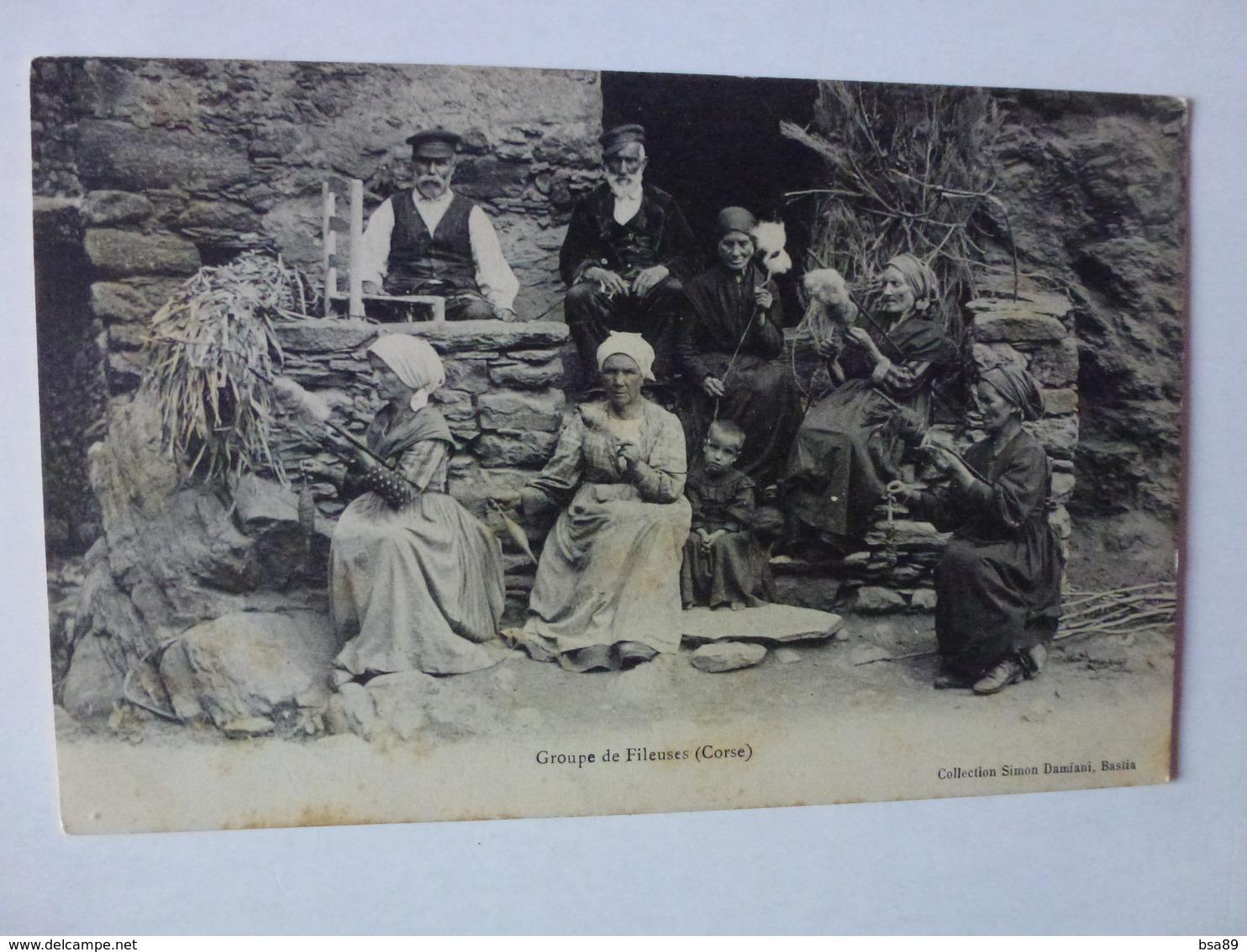 CPA, GROUPE DE FILEUSES, COLLECTION SIMON DAMIANI, BASTIA, VOIR SCAN - Bastia