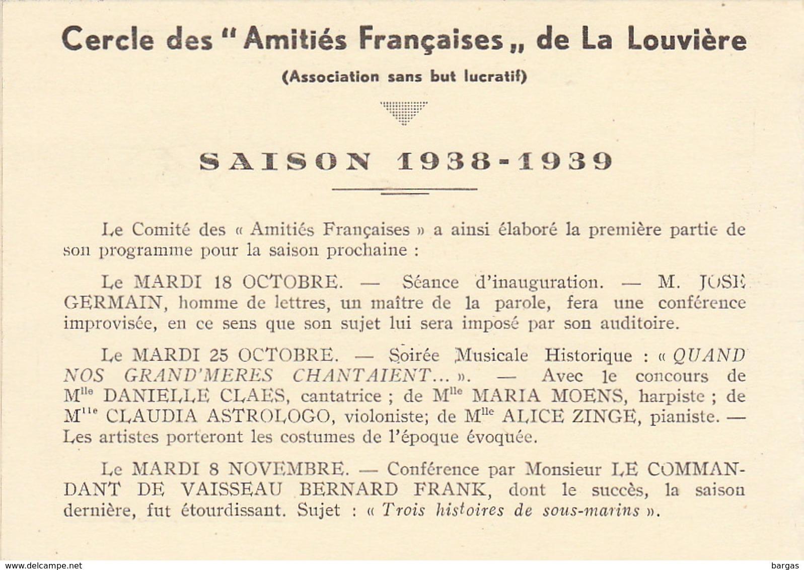 Programme Saison 1938 Cercle Des Amitiés Françaises De La Louvière Conférence De La Varende Poulenc Octave Aubry .... - Programmes