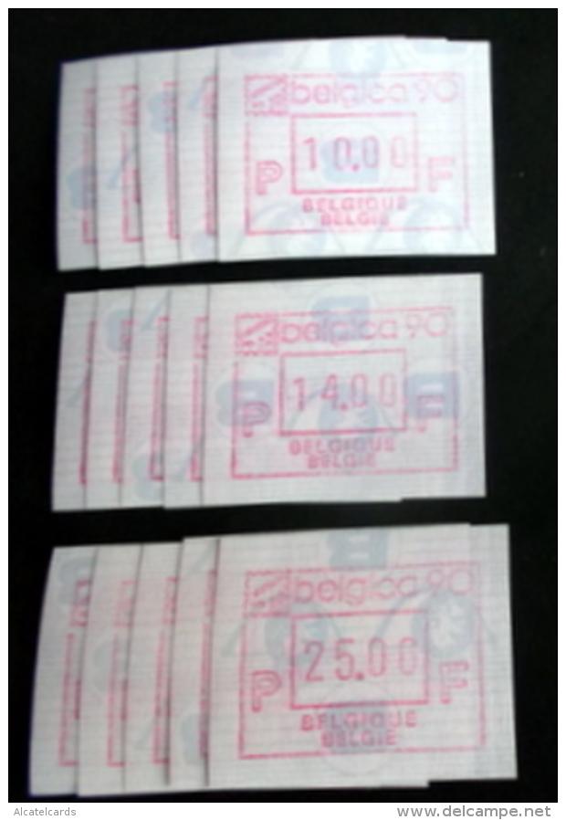 "Automatenmarken: Belgien - BELGICA 90 ""KOPFSTEHENDE ATM"": 5 X Satz F N. - Automatenmarken (ATM)"