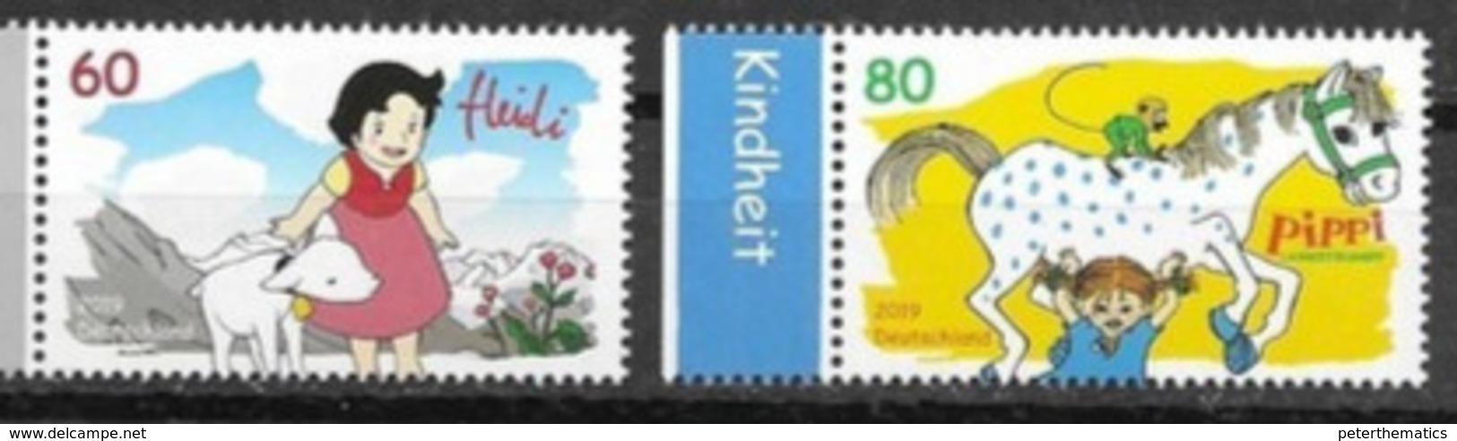 GERMANY, 2019,  MNH, CHILDREN SERIES, HEIDI, PIPPI , HORSES, LAMBS, MOUNTAINS, 2v - Childhood & Youth