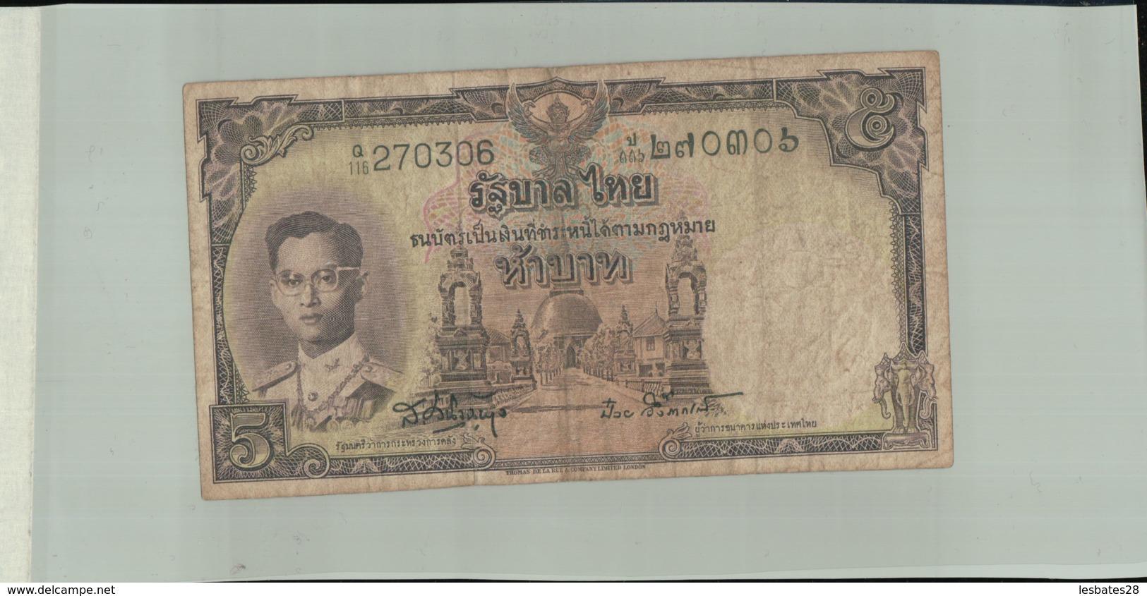 BILLET Banque  Thailande 5 Baht  1955 -Janv 2020  Clas Gera - Thailand