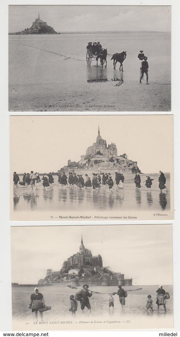 AC503 - LOT 3 CARTES - MONT SAINT MICHEL - Voiture De Genets - Pélerinage - Pêcheurs - Le Mont Saint Michel