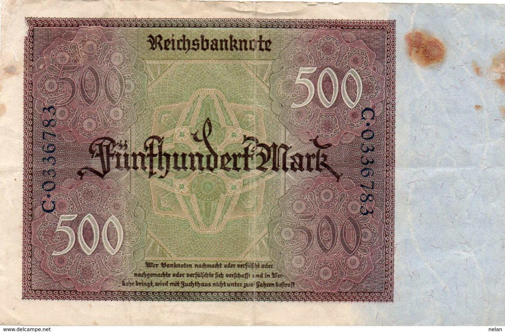 GERMANIA  500 MARK 1922  P-73 - 500 Mark