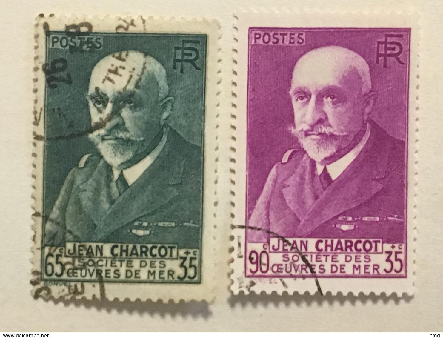 Timbre France YT 377, 377A (°) Obl 1938 Effigie De Charcot Vert-bleu Lilas-rose (côte 16 Euros) – 65b - Gebraucht