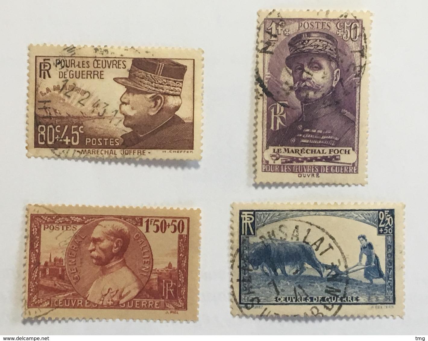 YT 454 à 457 (°) Obl 1940, Œuvres De Guerre Joffre, Foch, Gallieni, La Femme Au Labour (côte 31 Euros) – 65g - Frankreich