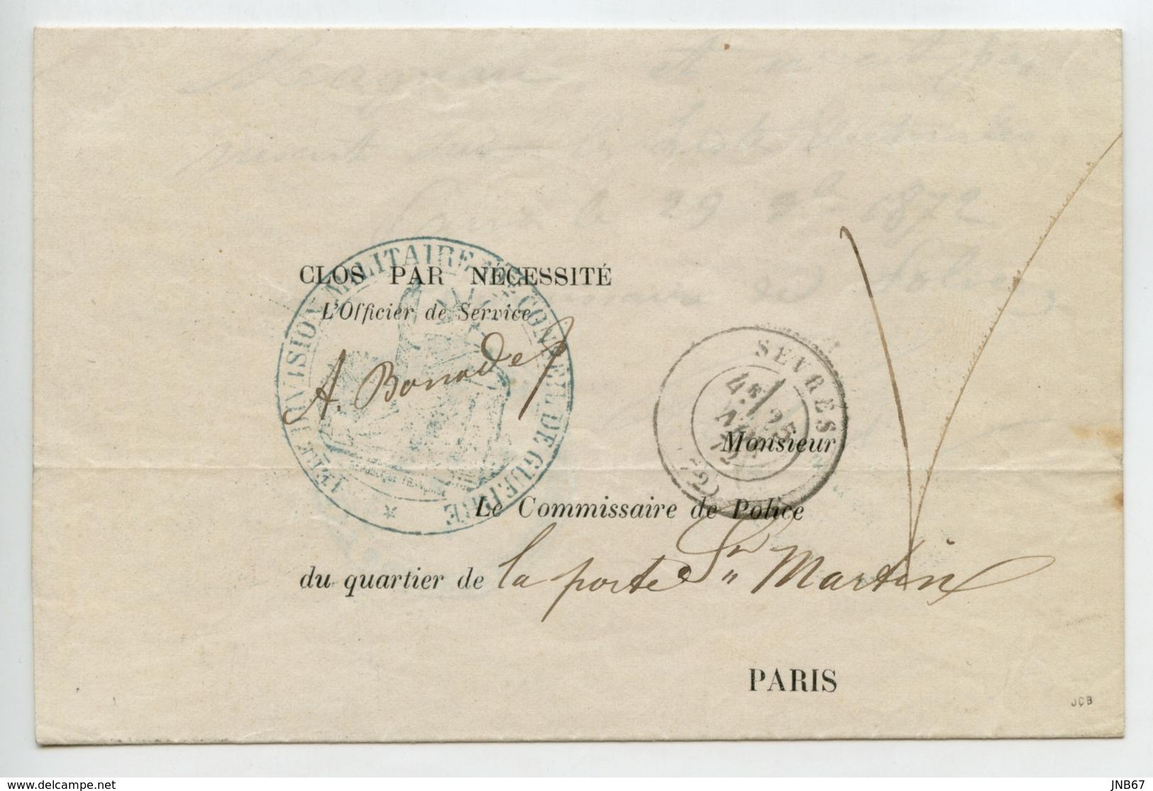 1ère Division Militaire 10e Conseil De Guerre Franchise De Sèvres En 1872 Sénéchal 7520 - 1849-1876: Classic Period