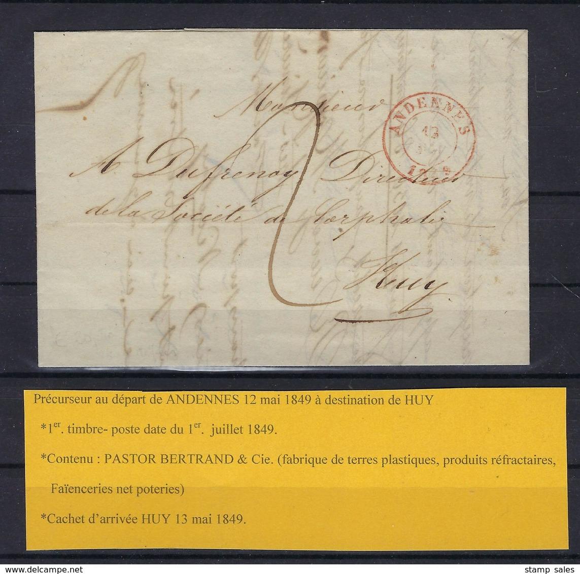 VOORLOPER 1849 VERZONDEN VAN Andennes NAAR Huy 13 Mai 1849 - 1830-1849 (Independent Belgium)