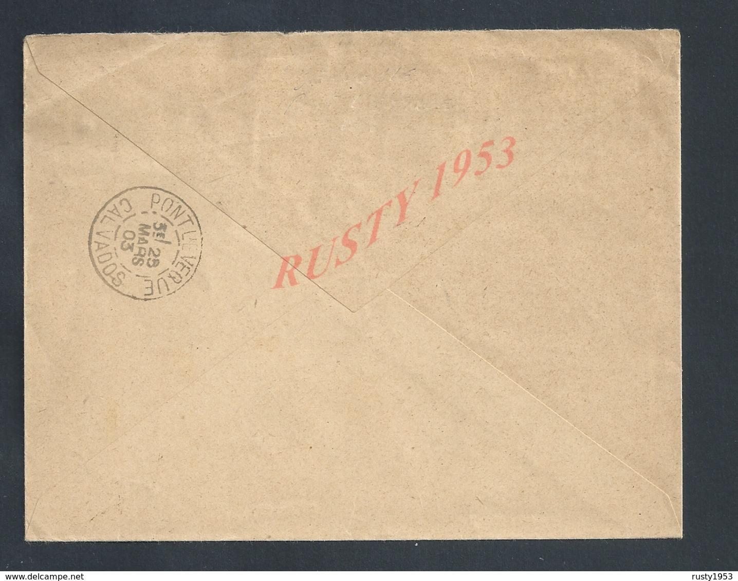 LETTRE DE LA MAIRIE DE DEAUVILLE SUR MER SUR TIMBRE MOUCHON POUR OB PONT L EVEQUE : - 1900-02 Mouchon