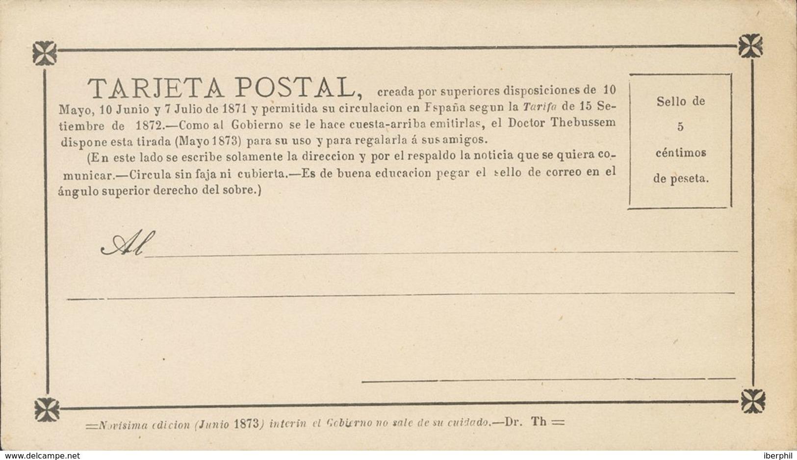 """Entero Postal. (*)EPPR4. 1873. 5 Cts Negro. TARJETA POSTAL PROVISORIA """"Novísima Edición (Junio 1873), Interín El Gobiern - Unclassified"""