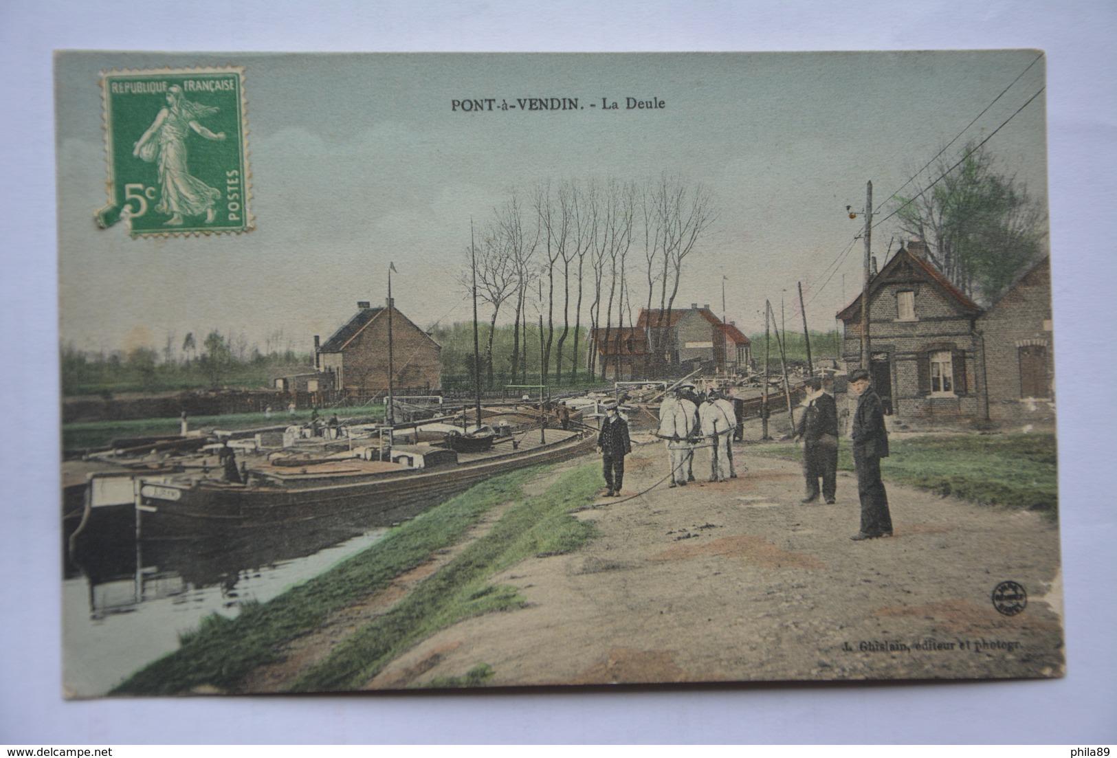 PONT-a-VENDIN-la Deule-peniche-halage - Frankrijk