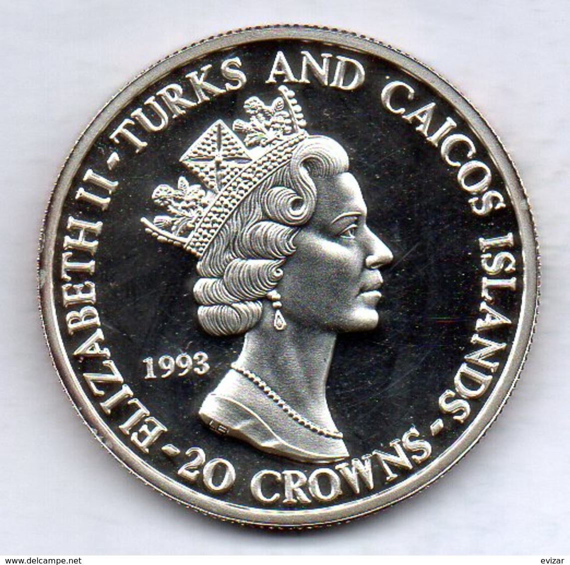 TURKS AND CAICOS, 20 Crowns, Silver, Year 1993, KM #141 - Turks E Caicos (Isole)