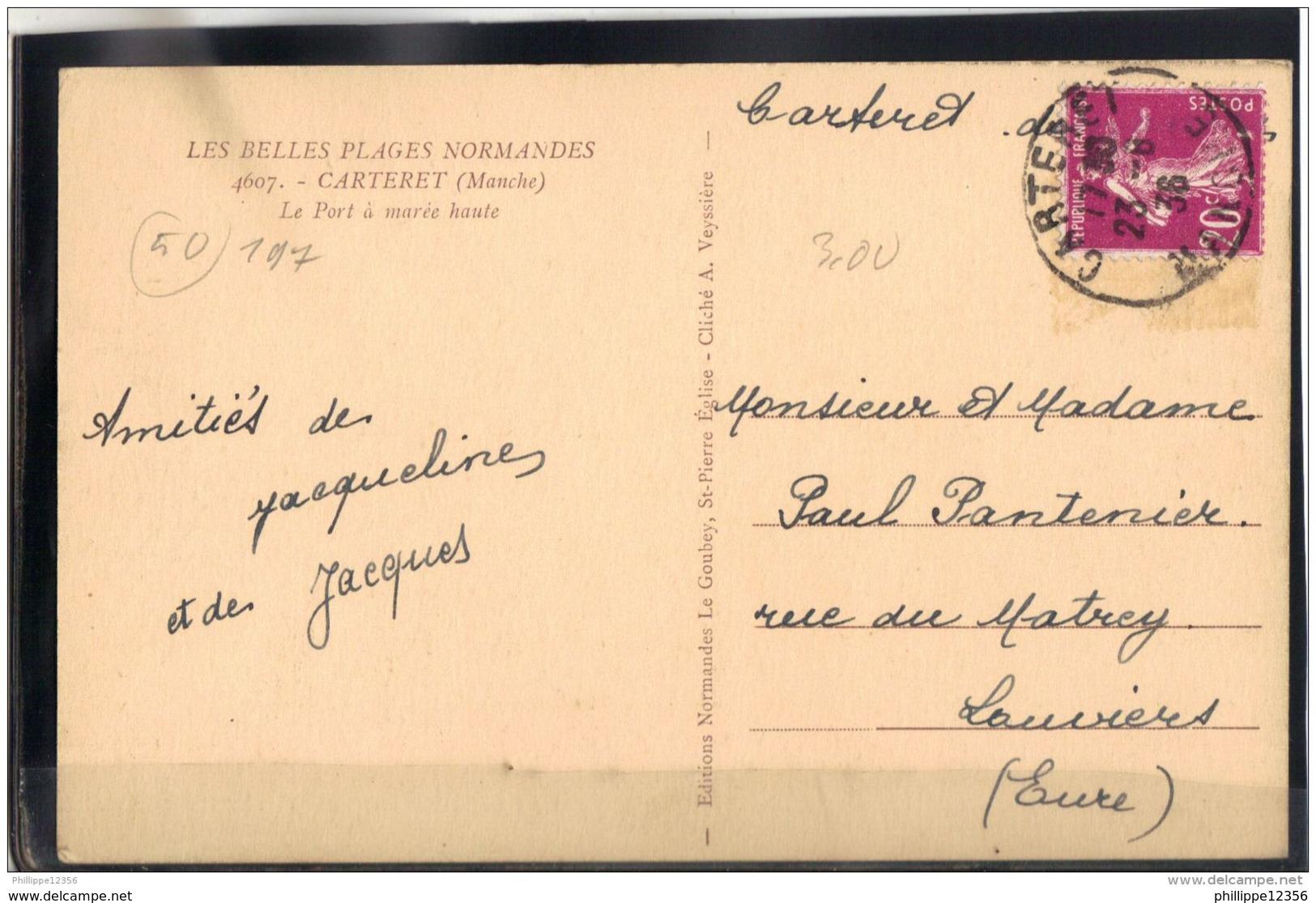 50197 . CARTERET . LE PORT  A MAREE HAUTE  . 1936 - Carteret