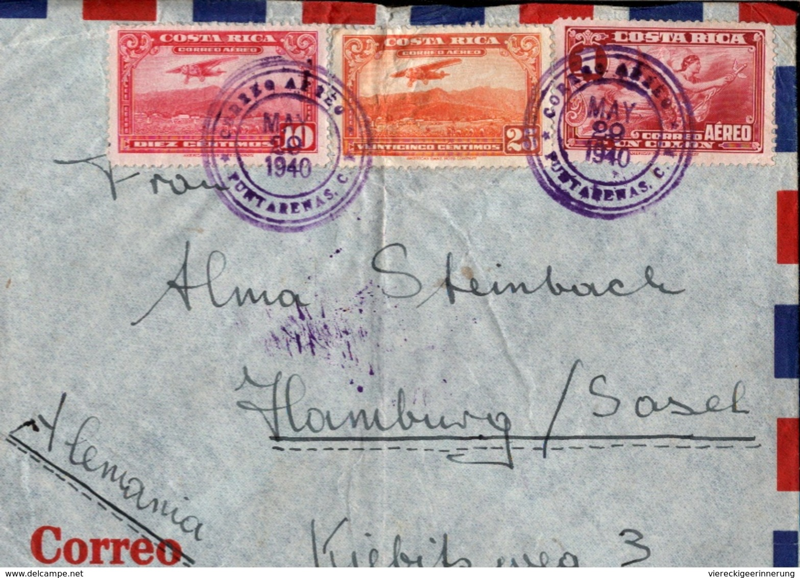 ! 1940 Costa Rica Luftpostbrief Air Mail, Punta Arenas, Por Avion, Aerea, Hamburg Sasel, OKW Zensur, Censure, Censor - Costa Rica