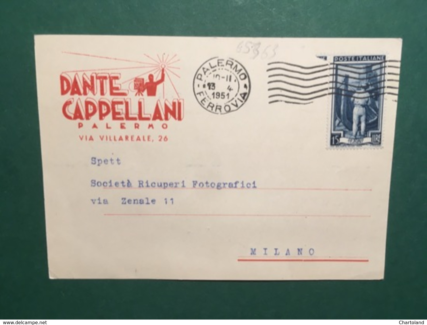 Cartolina Dante Cappellani - Palermo - Via Villareale - 1951 - Cartoline