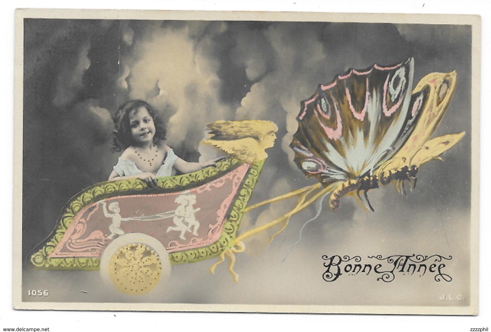 Bonne Année, Papillon Tirant Un Char Avec Petite Fille, Couleur - Abbildungen