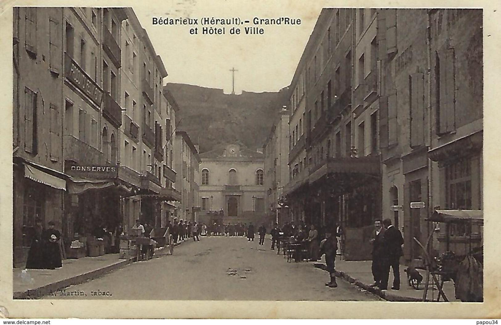 Bedarieux-grand'rue-carte-photo-1908 - Bedarieux