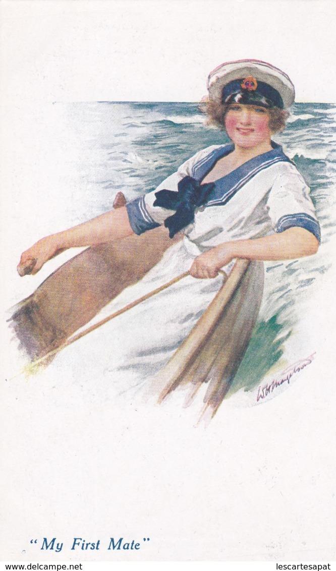 """Femme Sur Un Bateau Casquette De Marin """"my Firt Mate"""" A Vivian MANSELL London N°1038 (lot Pat 98/02) - Künstlerkarten"""