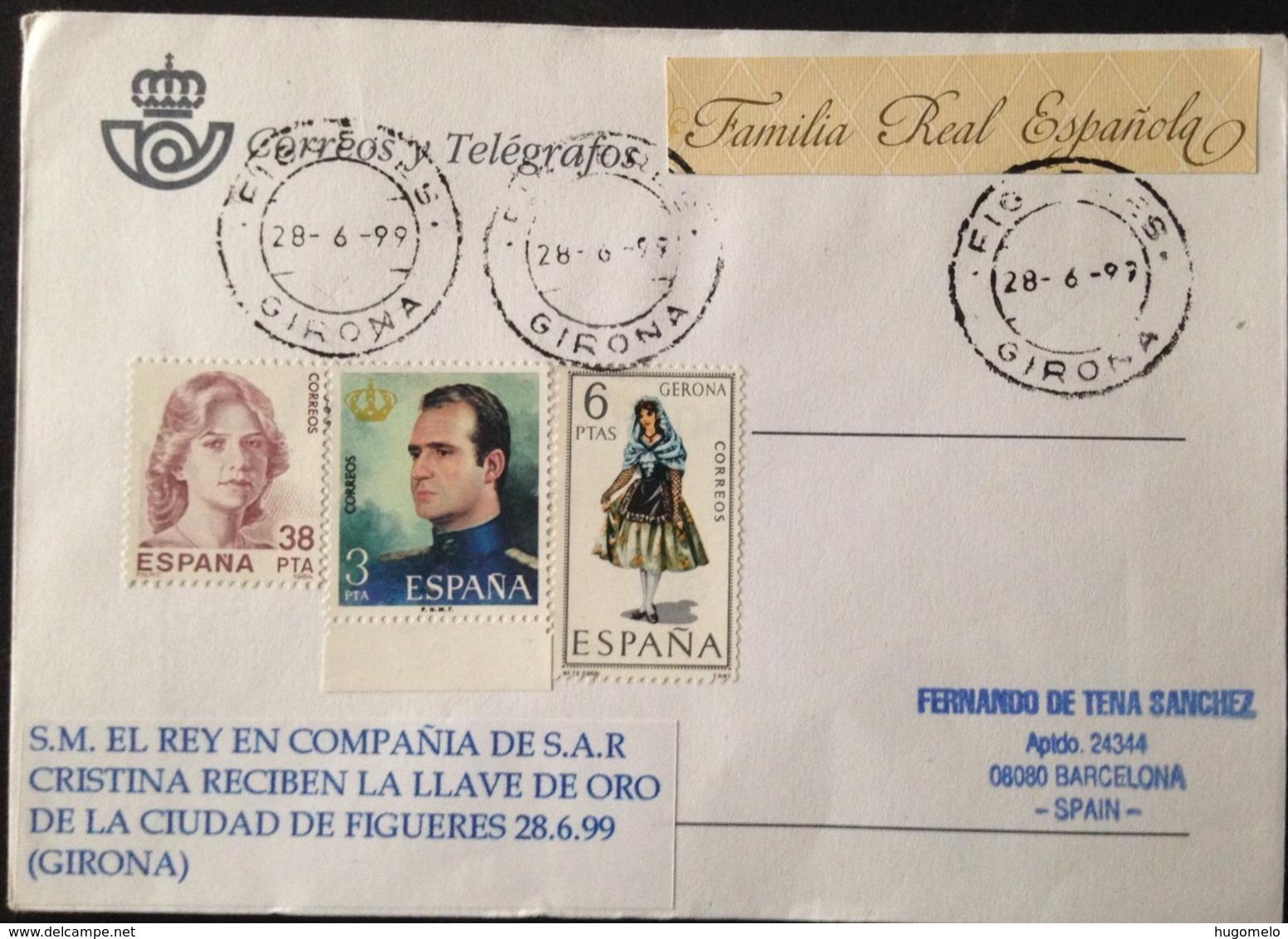"Spain, Circulated Cover, ""Spanish Royal Family"", ""Figueres"", ""Llave De Oro"", Girona, 1999 - FDC"