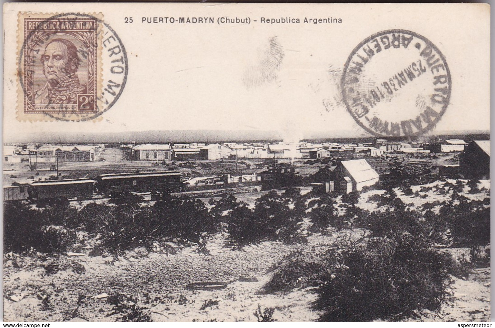 PUERTO MADRYN, CHUBUT. GENERAL VIEW. ARGENTINA POSTAL CARD CPA CIRCULATED 1938 PUERTO MADRYN TO BUENOS AIRES. -LILHU - Argentine