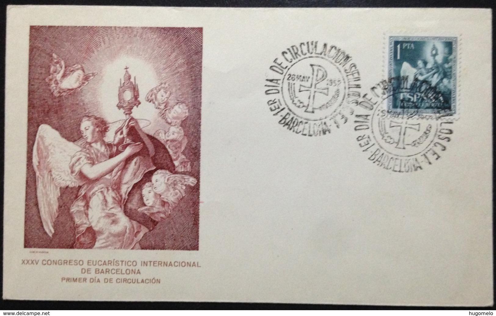 """Spain, Uncirculated FDC, """"XXXV Congreso Eucaristico Internacional"""", """"Religion"""", Barcelona, 1952 - 1981-90 Cartas"""