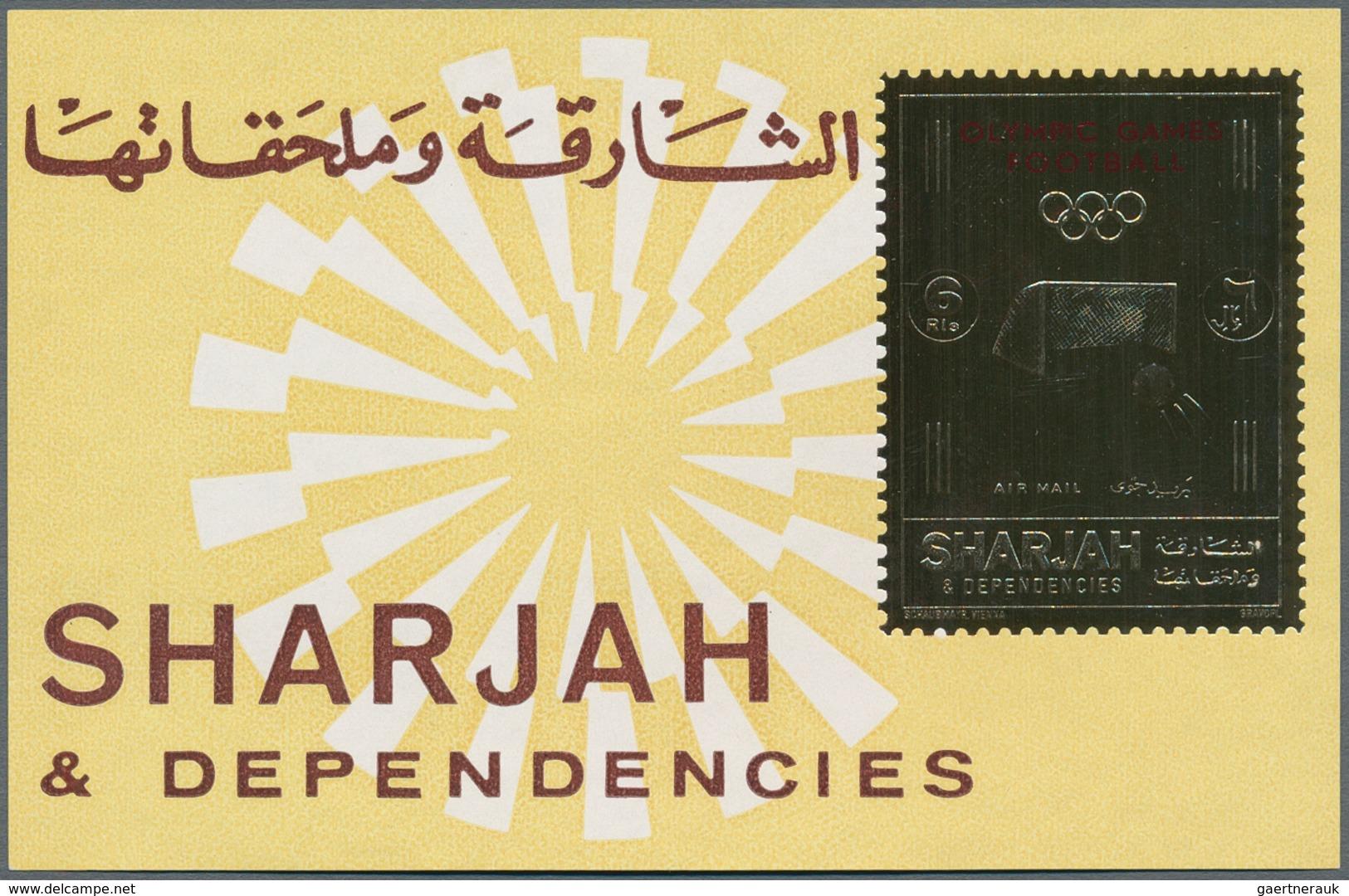 "Thematik: Sport-Fußball / Sport-soccer, Football: 1972, Sharjah, 6r. Gold Souvenir Sheet ""Olympic Fo - Football"