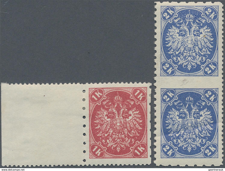 "Bosnien Und Herzegowina: 1900, Definitives ""Double Eagle"", 1kr. Rose And 2 Kr. Ultramarine, Speciali - Bosnie-Herzegovine"