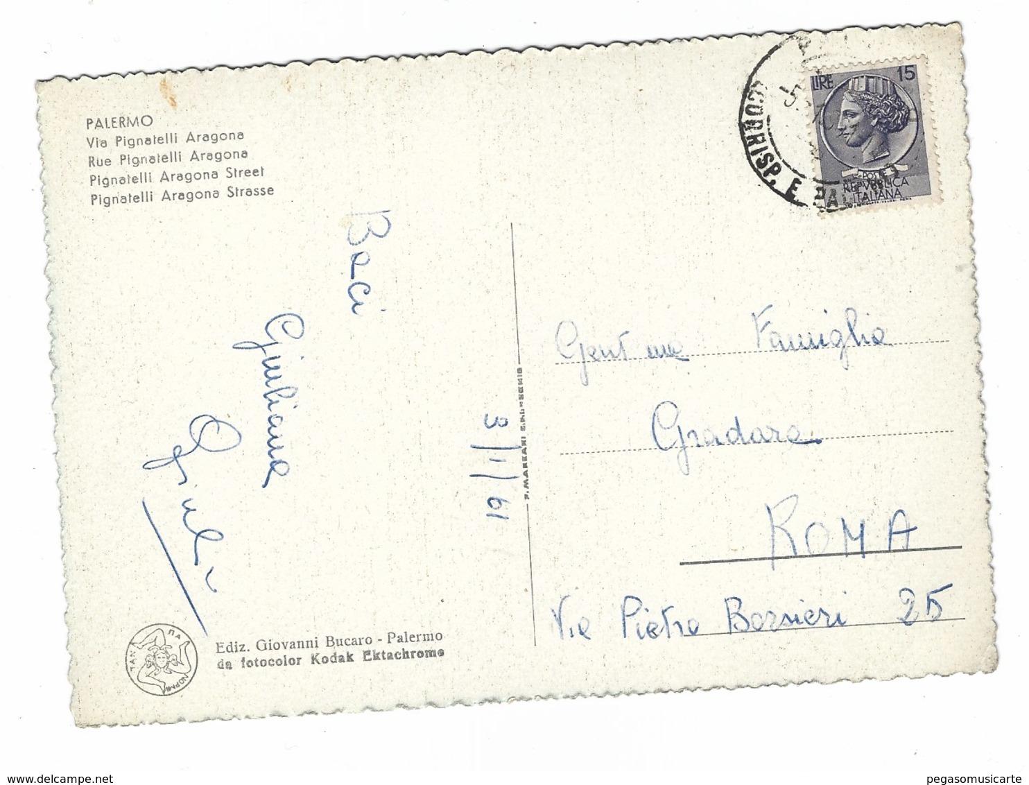 2902 - PALERMO VIA PIGNATELLI ARAGONA 1961 - Palermo