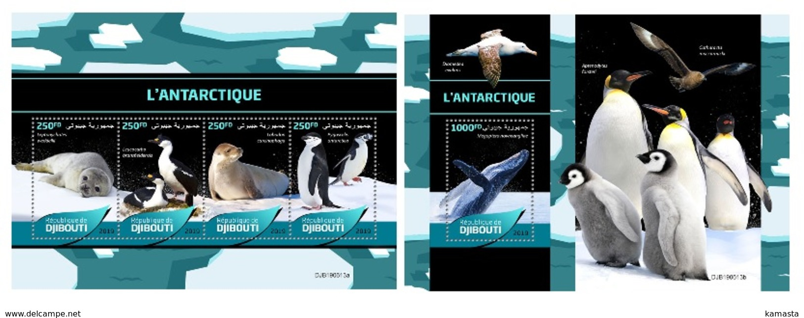 Djibouti. 2019 Antarctica. Penguins.  (0613) OFFICIAL ISSUE - Penguins