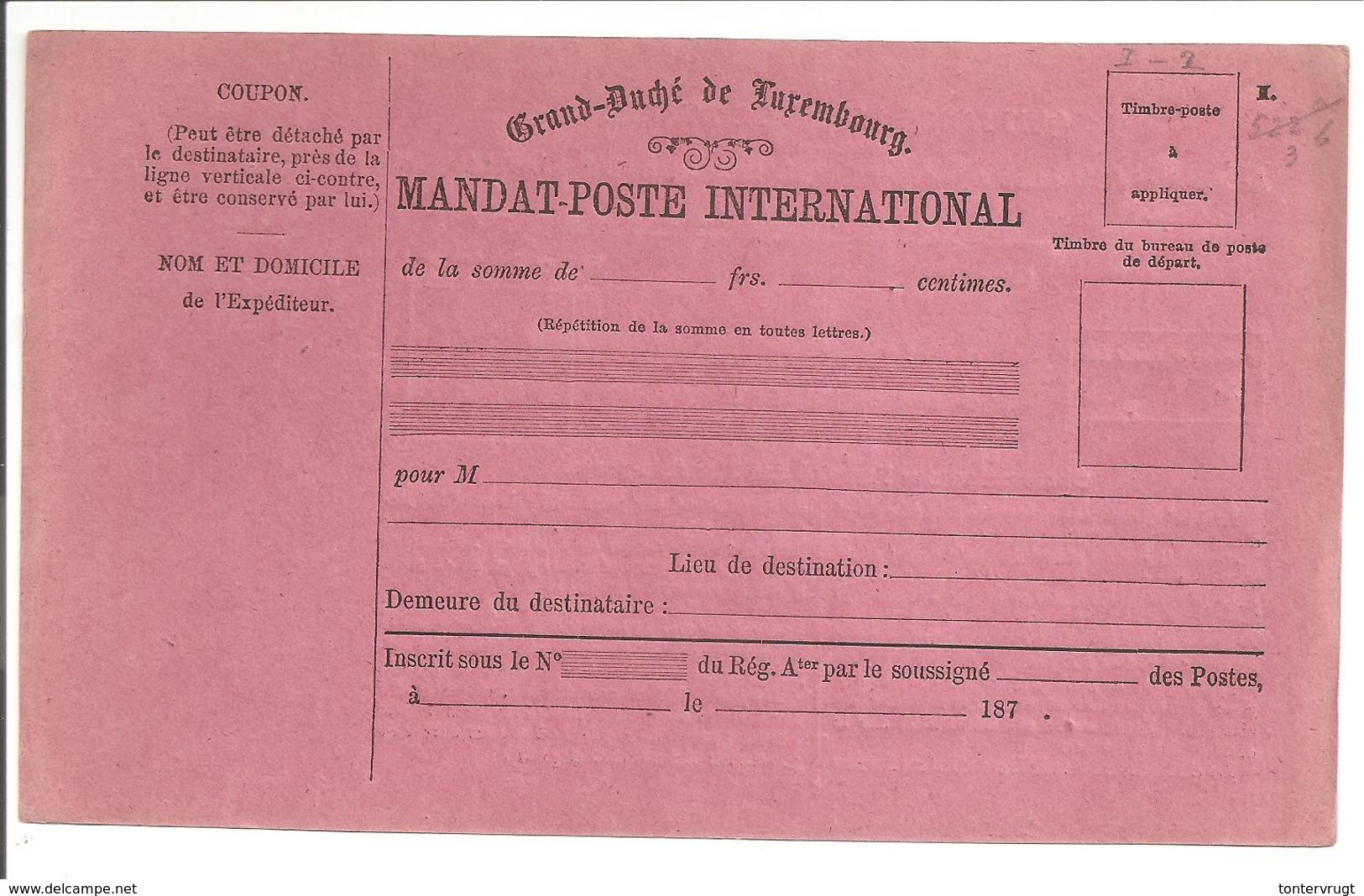 MANDAT-POSTE INTERNATIONAL 1. - Ganzsachen