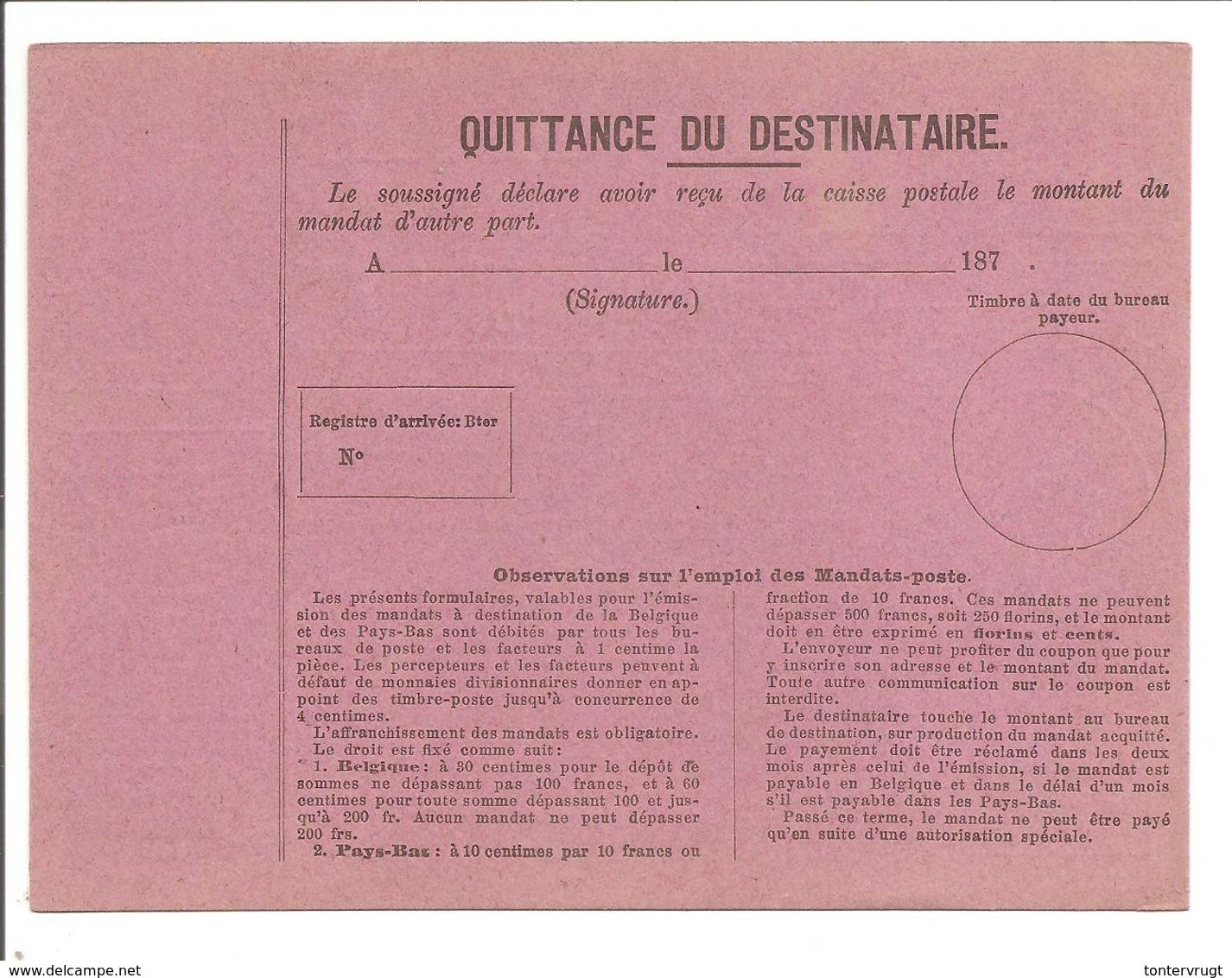 MANDAT-POSTE INTERNATIONAL Q. - Ganzsachen