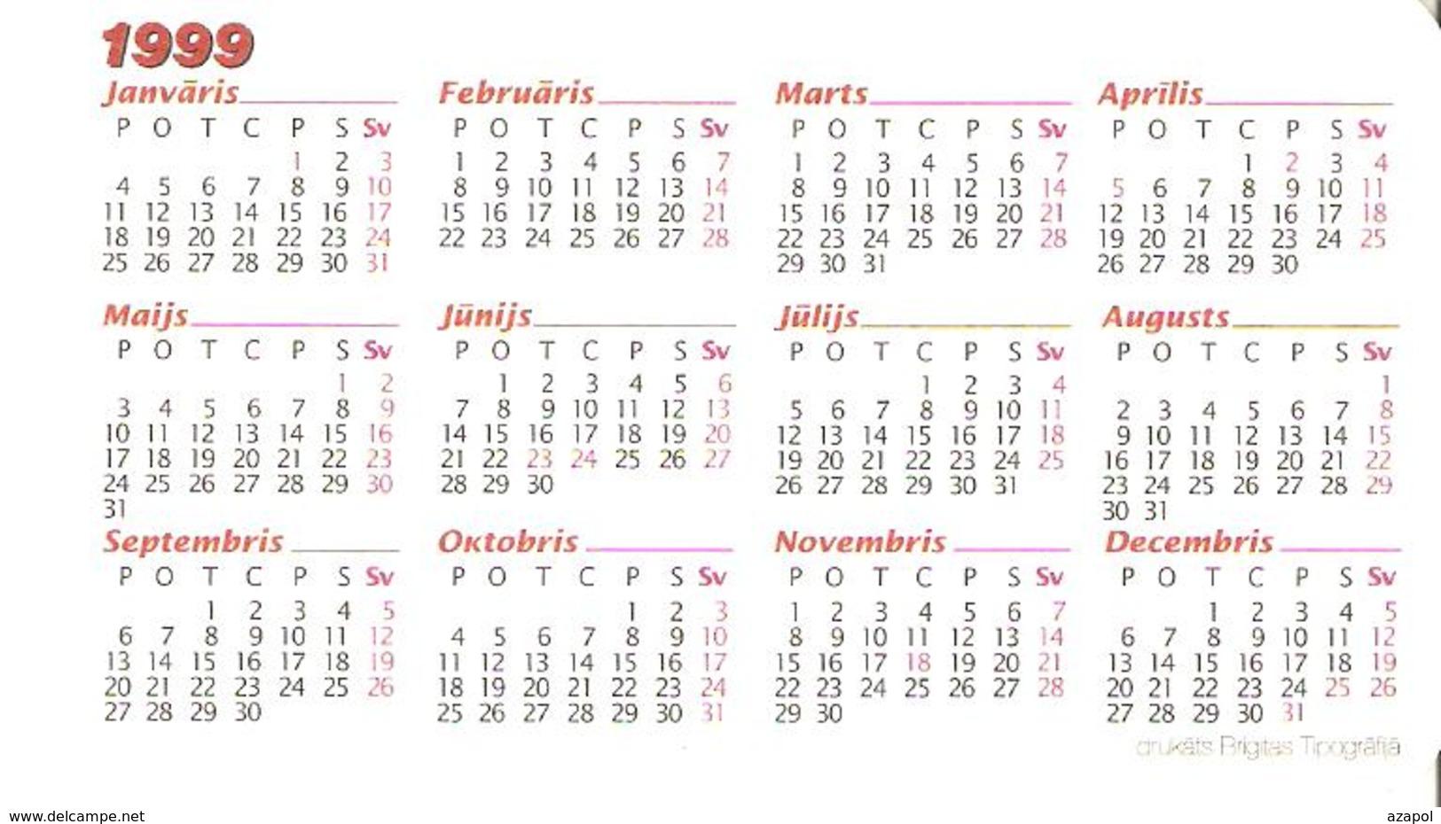 Pocket Calendar: Latvia, 1999, Vera Muhina, Russian Sculptor - Kleinformat : 1991-00