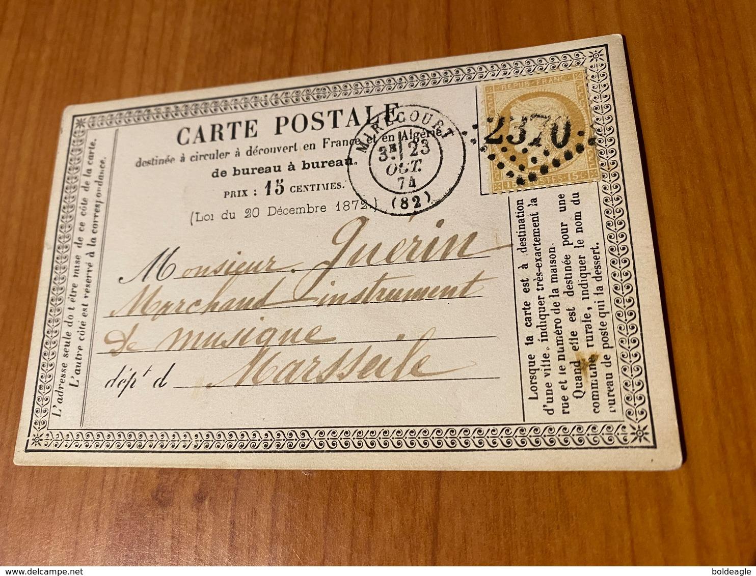 Carte Précurseur Du 23 Octobre 1874 -  DE MIRECOURT GC 2370 POUR MARSEILLE  ( Port Offert ) - 1849-1876: Klassieke Periode
