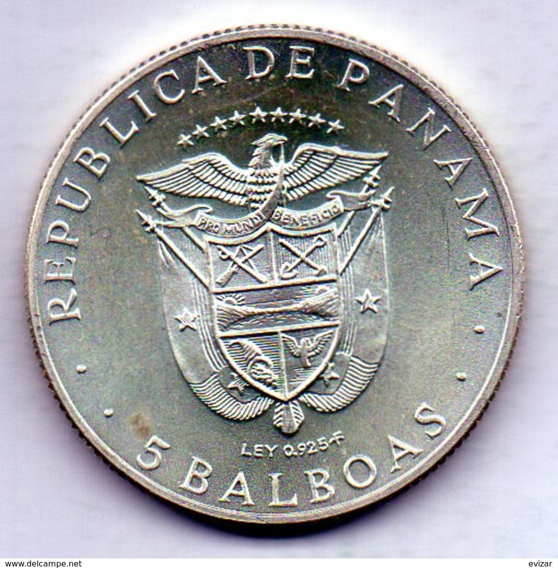 PANAMA, 5 Balboas, Silver, Year 1970, KM #28 - Panama