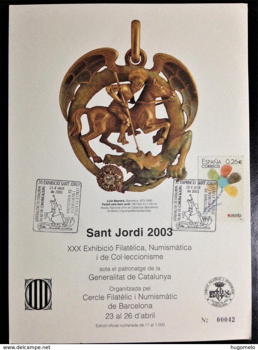 """Spain, Maximum Card, """"Sant Jordi 2003"""", """"Philatelic And Numismatic Event"""", 2003 - Otros"""